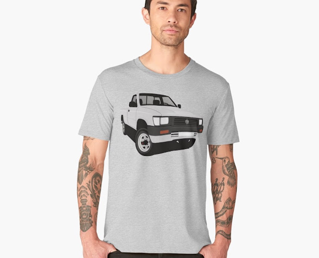 toyota hilux pickup truck light gray t-shirt