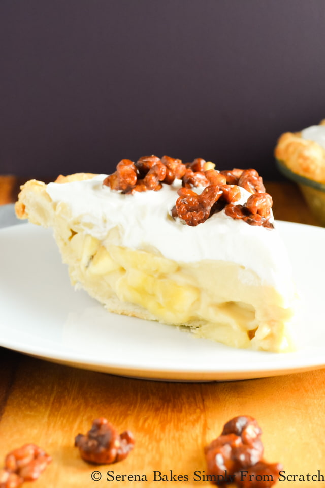 Butterscotch Banana Pudding Pie with Toffee Walnuts recipe is a favorite slice of pie perfect for Thanksgiving or Christmas from Serena Bakes Simply From Scratch.
