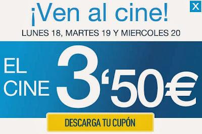 Entradas de cine a 3, 50 euros en los cines Yelmo y Cinesa