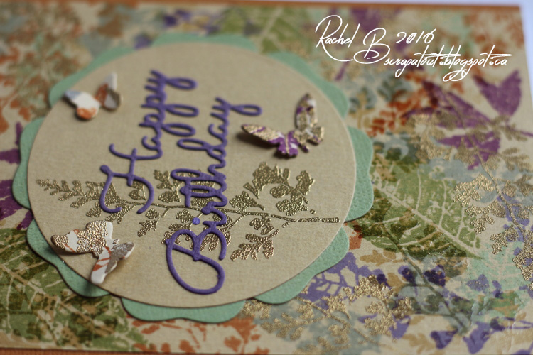 Scrapatout - Handmade card, Happy Birthday, Leaves, Butterflies, Spellbinders, Impression Obsession