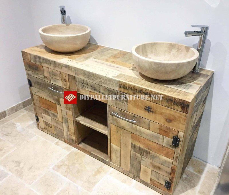 Encimera con doble lavabo de palets - Lavabos dobles sobre encimera ...