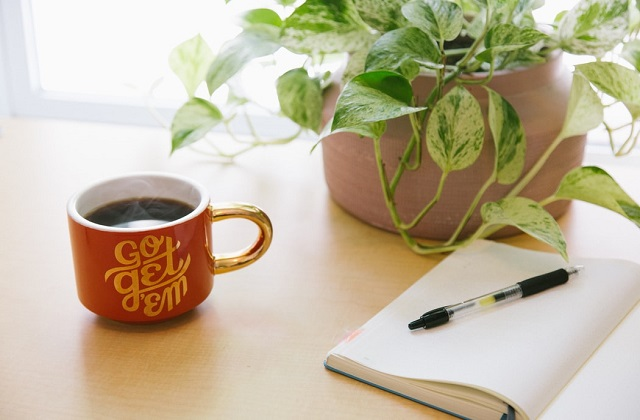 coffee in go get 'em mug on table with open notebook and pen and pink pot with green plant