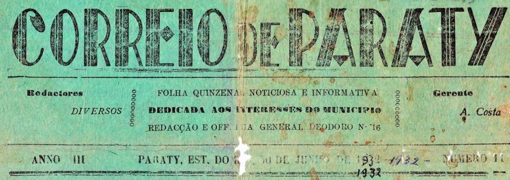 Recorte da capa do jornal Correio de Paraty do dia 30 de junho de 1932
