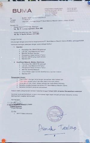 UPDATED: Lowongan Kerja Terbaru BUMA (PT Bukit Makmur Mandiri Utama) Jobsite ADARO