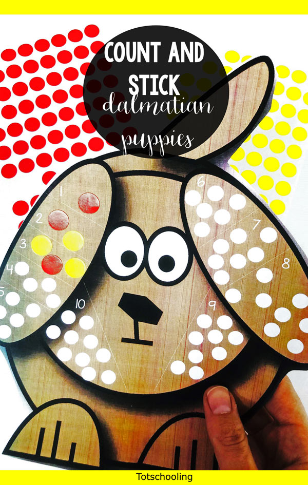 FREE printable counting and fine motor activity perfect for preschoolers! Put the correct number of spots on the dalmation dogs using stickers or dot markers. Makes a great preschool math center, or a pet theme.