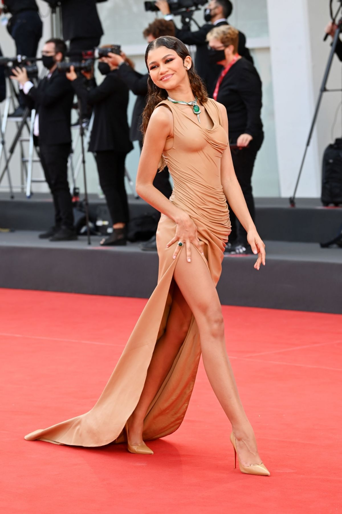 Zendaya drips sex appeal in nude gown at the Dune Venice Film Festival 2021 Premiere