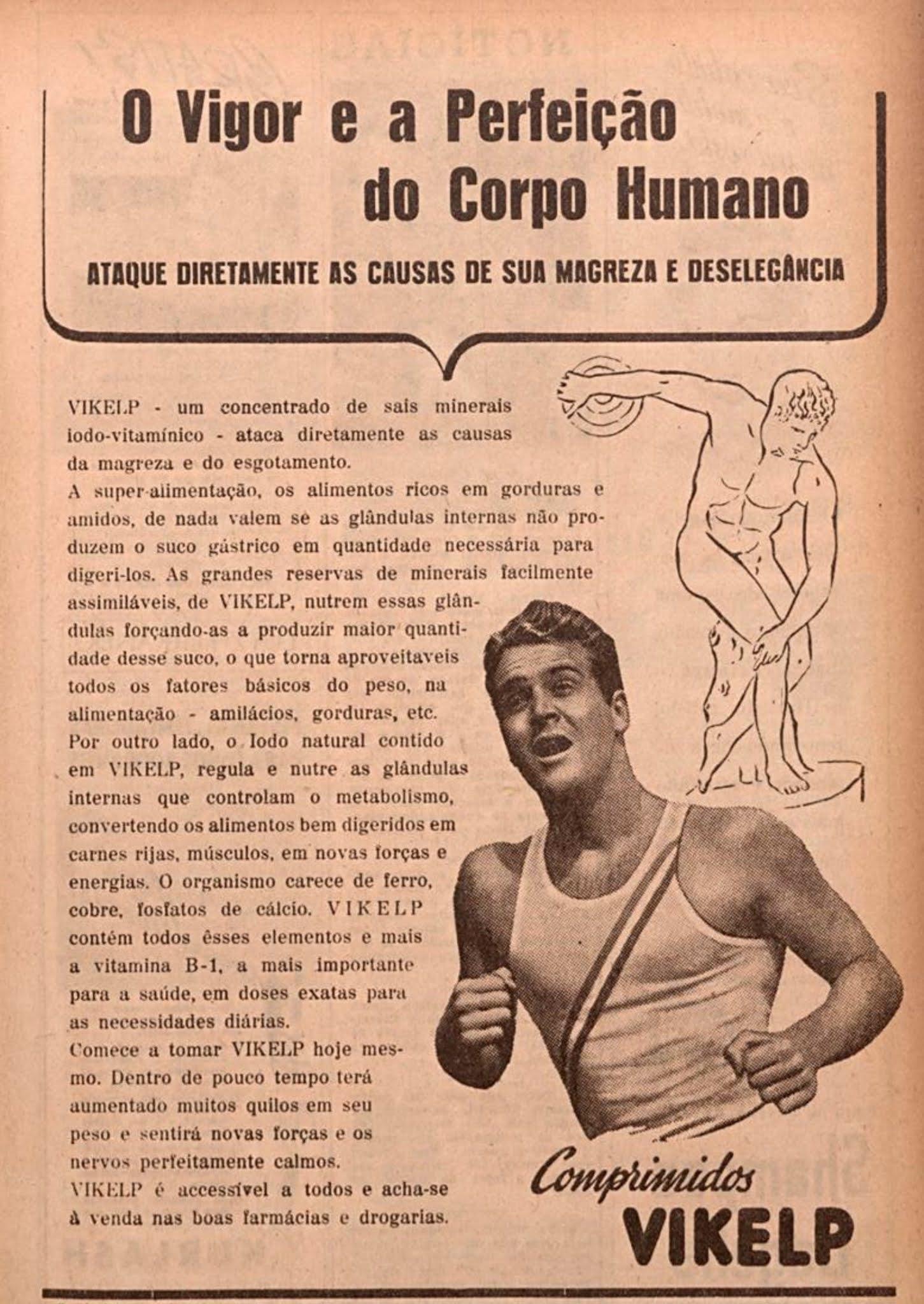 Propaganda antiga dos comprimidos Vikelp para manutenção da saúde em 1946