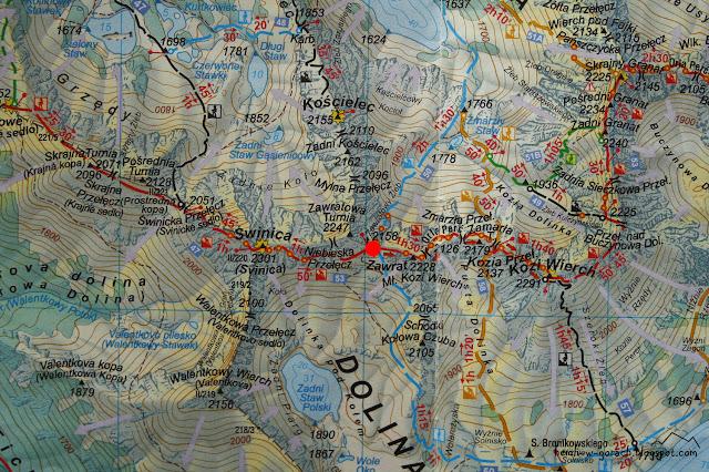 Zawrat na mapie