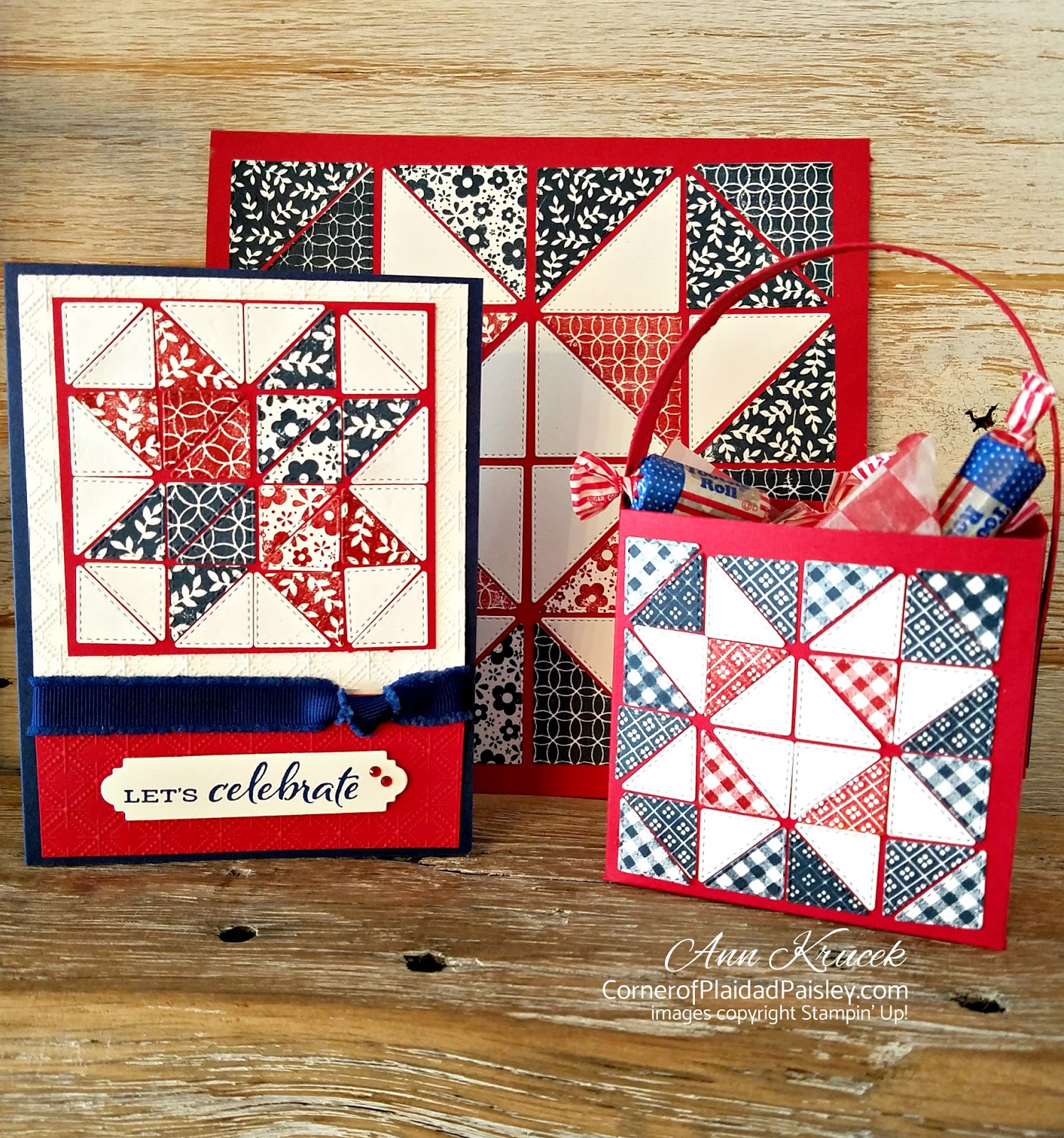 Paper Piecing Quilt Stars Treat Tote And Card Corner Of Plaid And Paisley