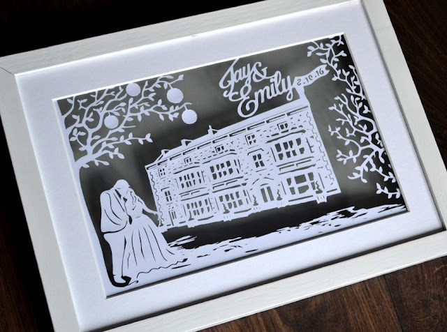 personalised wedding venue paper cutting