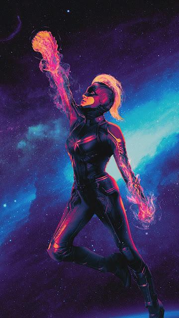 Captain Marvel phone wallpaper 1080p