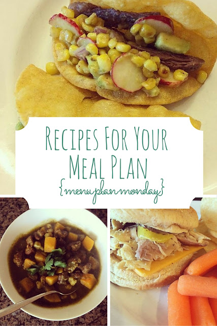 This week's recipes for your meal plan includes a lovely pork and butternut squash stew, a super quick slow cooker recipe (yes, contradictory, but true), and steak tacos with a corn salsa. The family will loves these dinners!