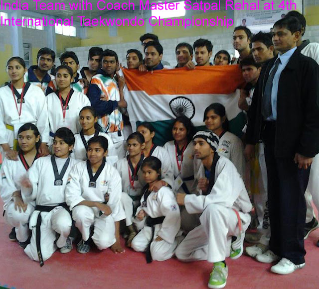 Martial Art Taekwondo Training Coach Master Er. Satpal Singh Rehal with Indian Team Players at 4th International Tkd Championship Dehradun India