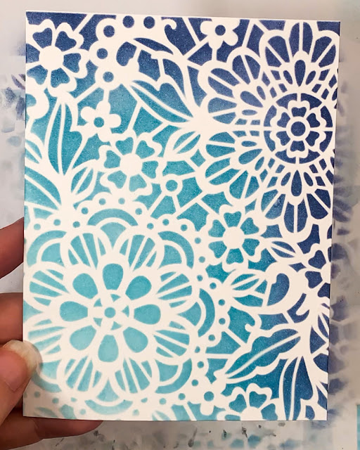 Thinking of You Card by February Guest Designer Caitlin Anthony | Inked panel using Floral Lace Stencil by Newton's Nook Designs