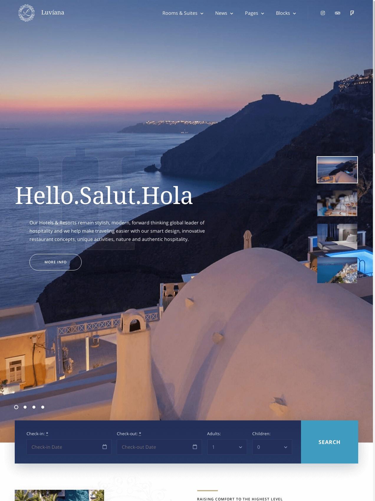 Hotel Booking WordPress Theme  Luviana