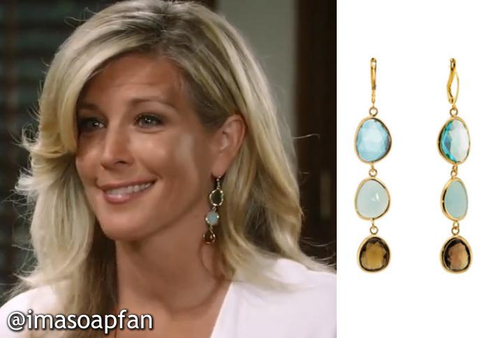 ba3f5779a Carly Corinthos Jacks's Blue and Smoky Glass Triple Drop Earrings - General  Hospital, Season 53, Episode 96, 08/14/15