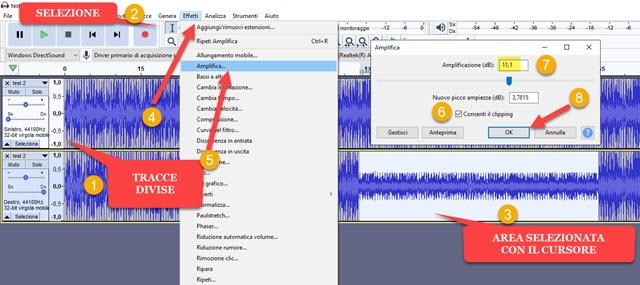 amplificare solo una sezione di una traccia audio