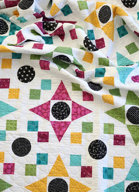 Game Night quilt pattern found in the Fresh Fat Quarter Quilts book by Andy Knowlton of A Bright Corner - a bold, bright, modern quilt