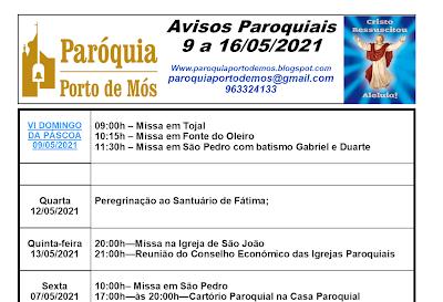 Avisos Paroquiais - 9 a 16 de Maio de 2021