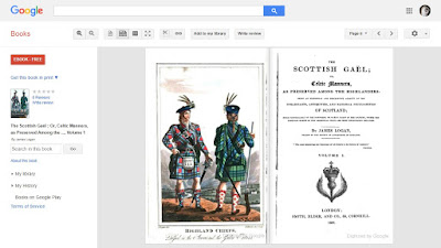 "Painting of two Scottish Highland chiefs in full tartan dress, title page of ""The Scottish Gaël"""