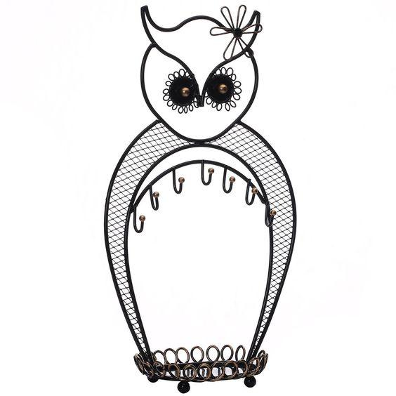 #COP3687BK Metal Owl Jewelry Display and Jewelry Stand Hanger Organizer