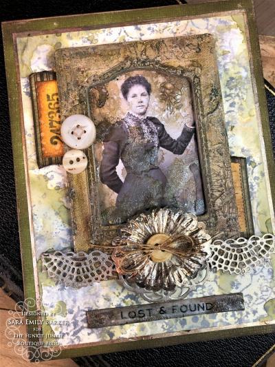 Sara Emily Barker https://sarascloset1.blogspot.com Vintage Mixed Media Card Tim Holtz Sizzix Crochet Burst 3D Impresslits 7