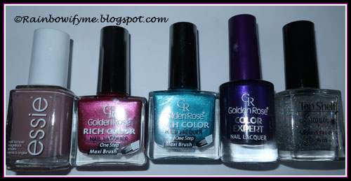 Essie Lady Like; Golden Rose Color Expert #38, Rich Color #51 and Rich Color #39; Top Shelf Lacquer It's Not What You Drink