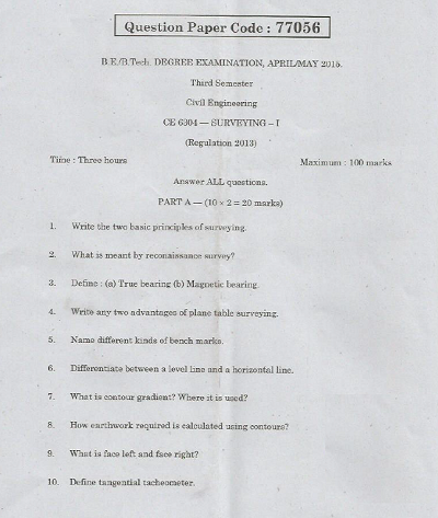 CE6304 Surveying-I April May 2015 Question Paper