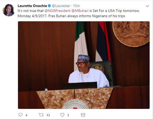 Buhari is not travelling to USA – Presidency