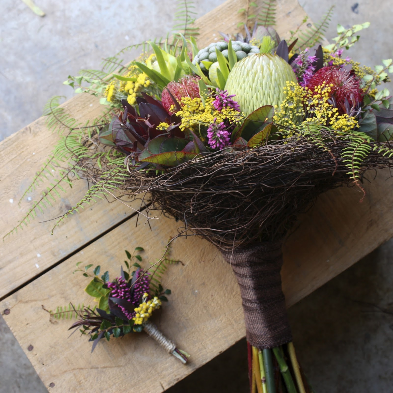 Swallows Nest Farm Birds Nest Bouquets For A Cradle Mountain Wedding In February