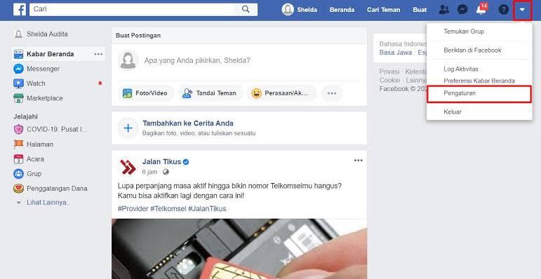 cara memblokir akun facebook sendiri sementara melalui desktop
