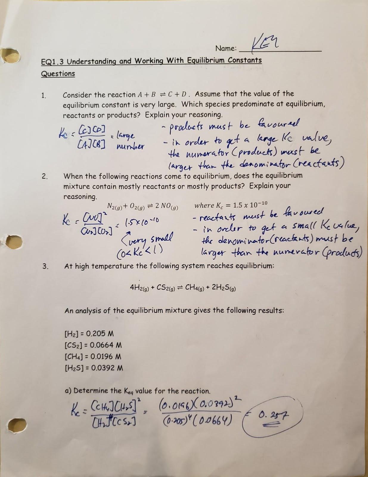 Mr Kasprick S Chemistry 30 Class Eq1 Consider