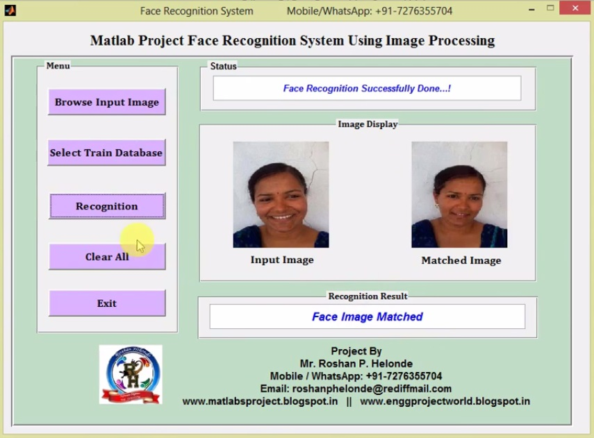 Face Recognition Using Image Processing Matlab Project with