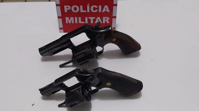 PM apreende duas armas de fogo dentro de um veículo na cidade de São Bento