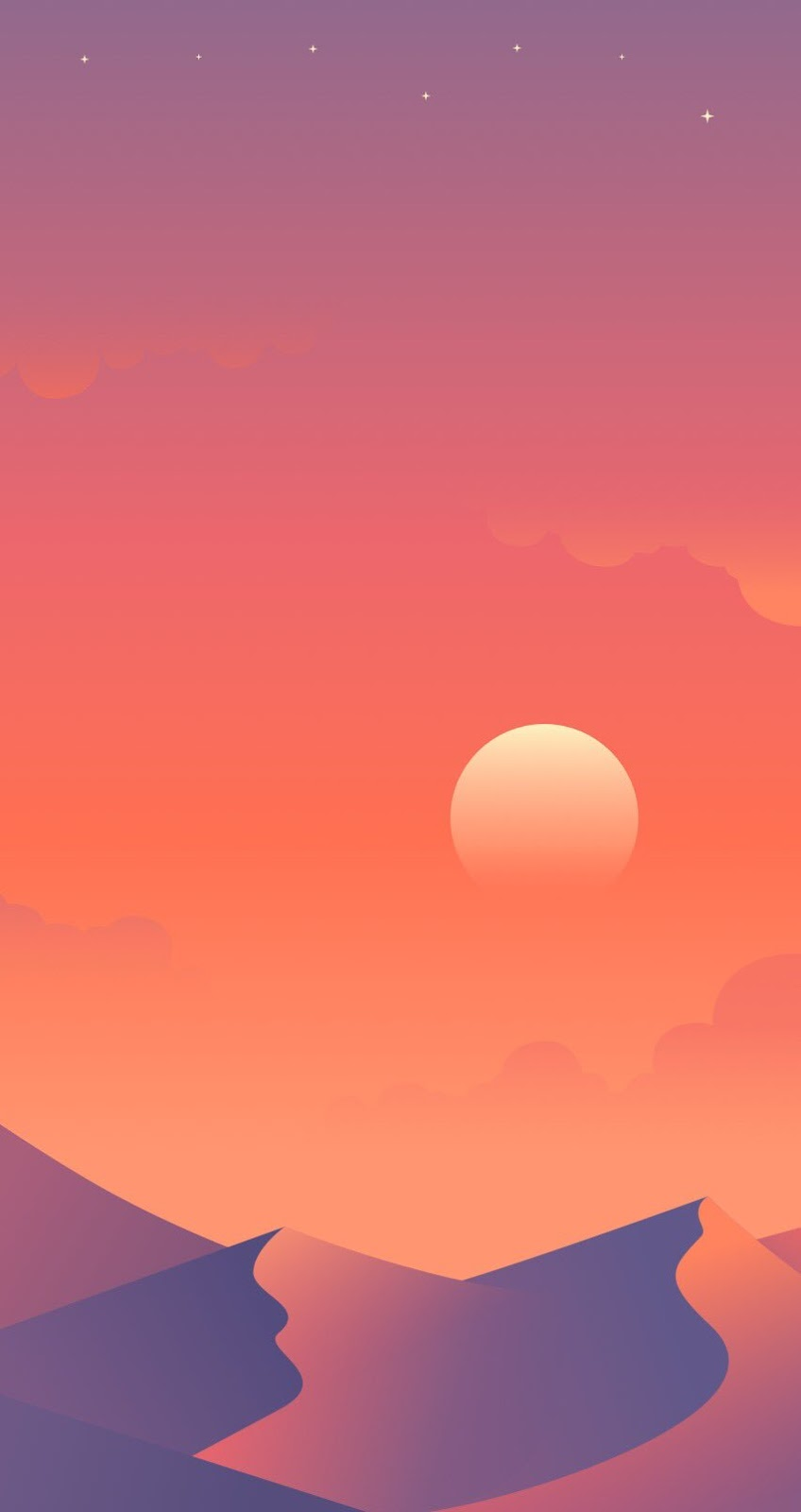 Flat Desert sunset Mobile Wallpaper