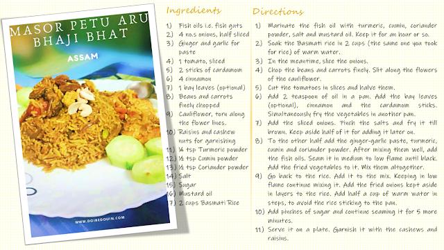 masor petu aro bhaji bhat assam dish recipe doibedouin