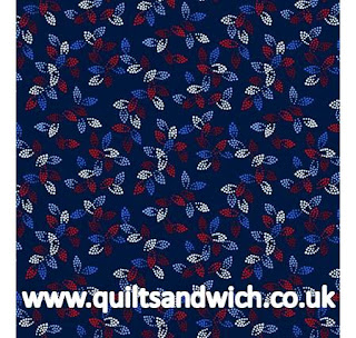 Spangles Navy www.quiltsandwich.co.uk extra wide