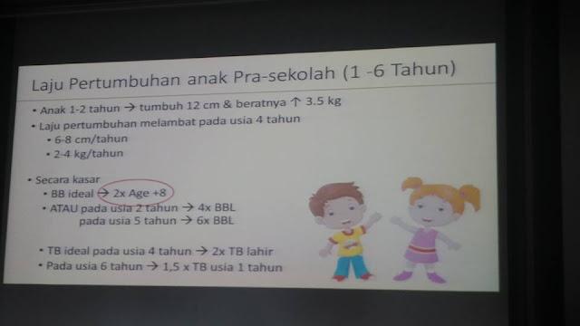 laju pertumbuhan anak  usia pra sekolah
