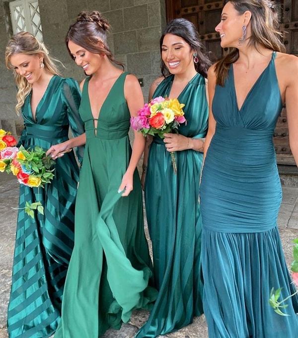vestidos longo  verde esmeralda, verde bandeira e outros tons de verde escuro para madrinha de casamento