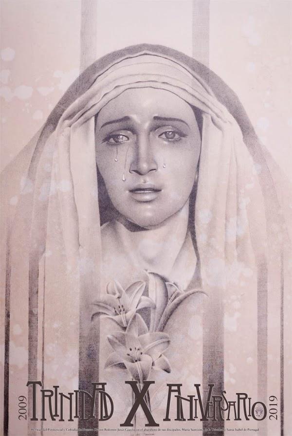 Cartel conmemorativo X Aniversario de bendición María Santísima de la Trinidad de Jaen