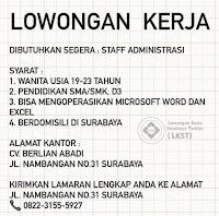 Lowongan Kerja Surabaya di CV. Berlian Abadi Januari 2021