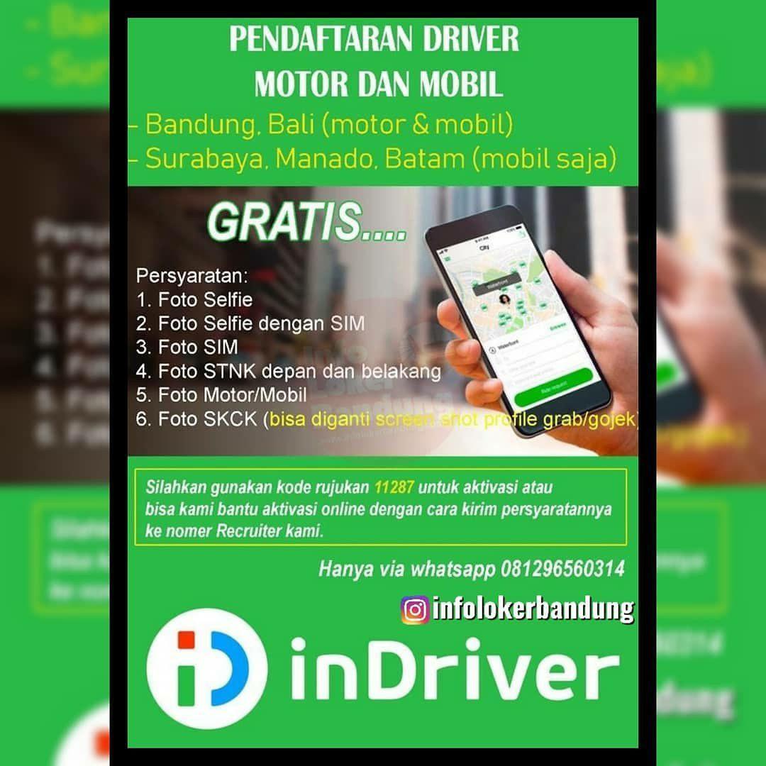 Pendaftaran Driver Motor & Mobil Indriver Bandung November 2019