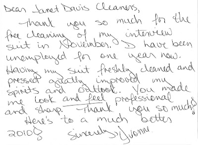 Thank You Note for Free Interview Suit Cleaning at Janet Davis Dry Cleaners