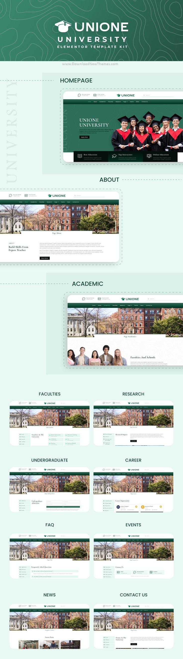 University Elementor Template Kit