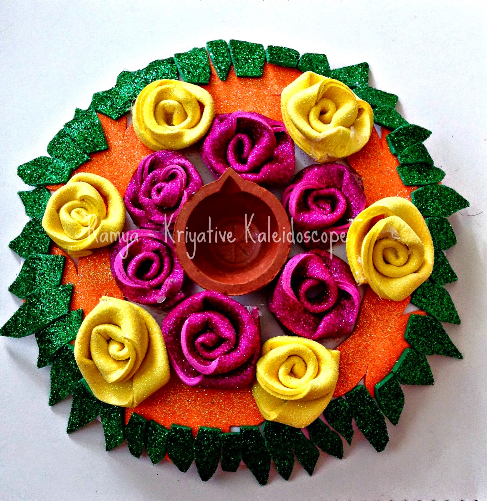 Diya Platter Using Glitter Foam Sheets Kriya Tive Kaleidoscope