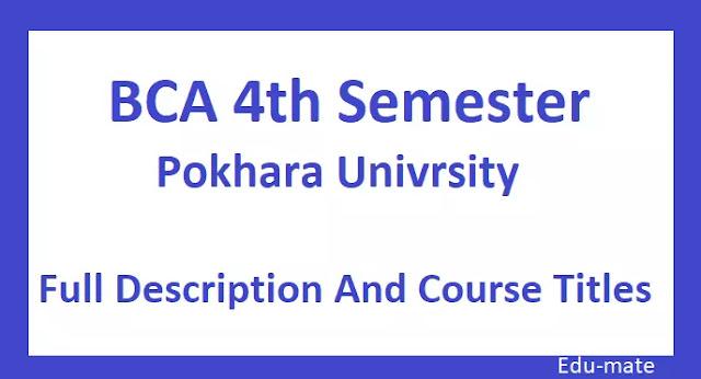 BCA fourth semester syllabus Pokhara University