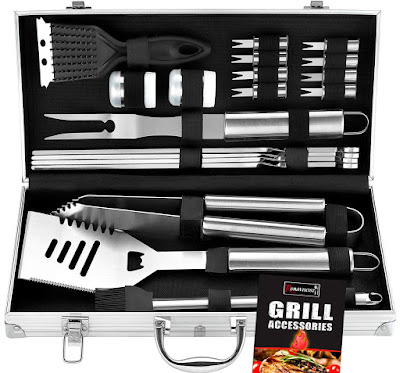 ROMANTICIST 20pc Heavy Duty BBQ Grill Tool Set in Aluminum Case