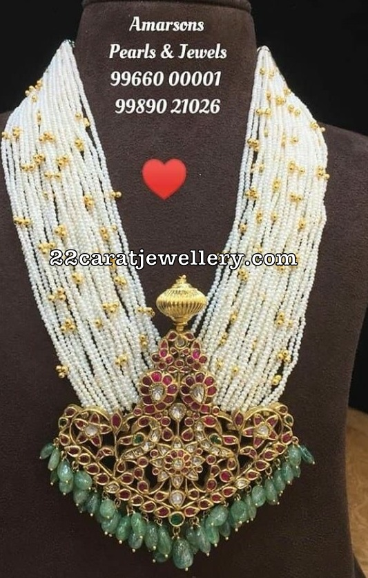 Peacock Mango Pendant with Multi Layer Pearls