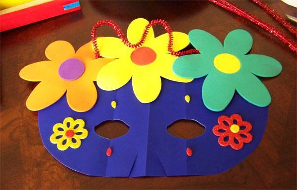 Idea to make mask from paper for kids : flowers mask 2