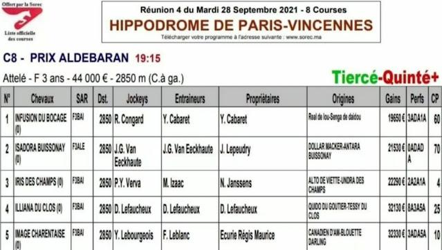 programme Tiercé et Quinté Mardi 28/09/2021